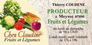 Chez Claudine Fruits et Légumes Thierry Coudène Meysse Partenaire Rochemaure Aquarelle Biennale Stages 2018