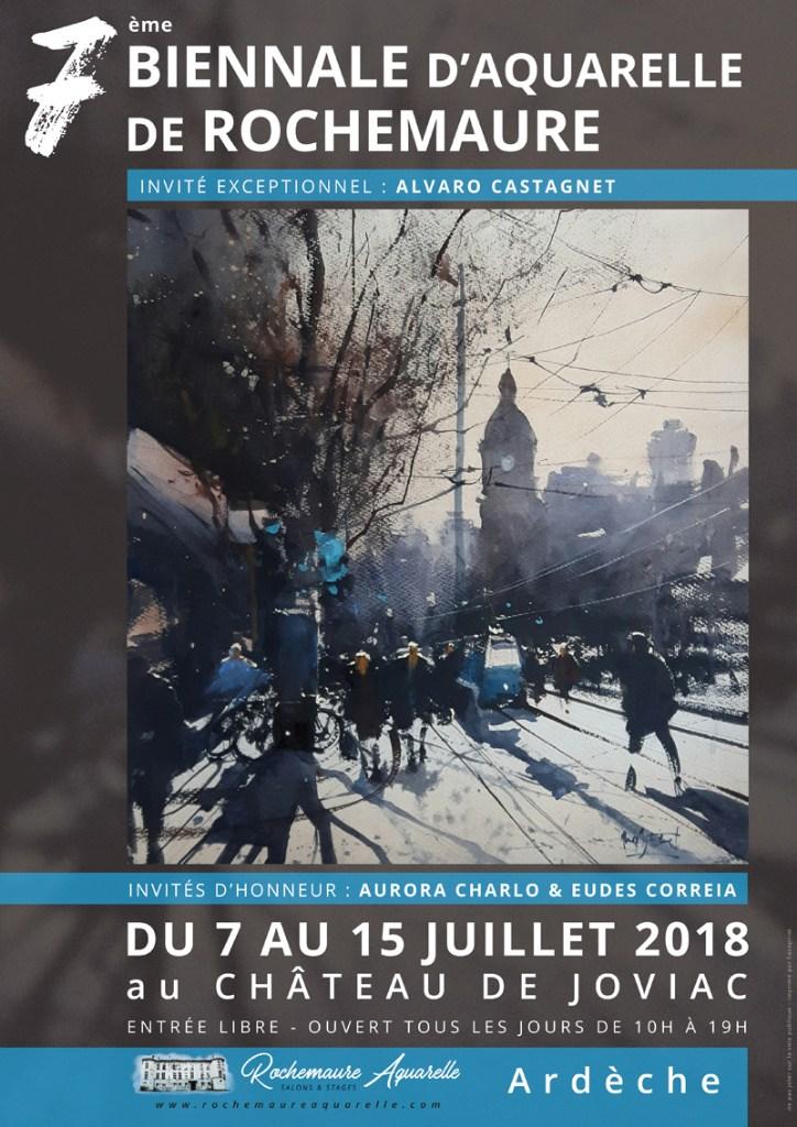 Affiche Biennale 2018 Rochemaure Aquarelle Ardèche